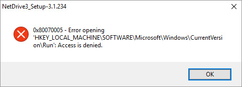 NetDrive_Setup error on boot - Registry Access is denied